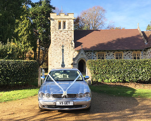 wedding car outside Dorset church