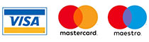 Visa Mastercard Maestro accepted
